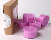 Pure Soy Wax Tealights // Package of 6 Aromatherapy Tealights Scented with Pink Grapefruit essential oil