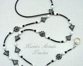 Black White Fan Pinwheel Swirl Glass Beaded Lanyard ID Badge Holder
