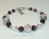 Purple Ribbon Epilepsy Cancer Awareness Beaded Bracelet Large Round Beads