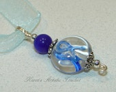 Cancer Awareness Navy Blue Ribbon Clear Round Beaded Glass Pendant