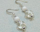 White Lung MS Cancer Awareness Beaded Dangle Earrings