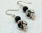Black Ribbon Melanoma Cancer Awareness Beaded Earrings
