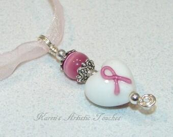 Breast Cancer Awareness Pink Ribbon White Heart Beaded Glass Pendant