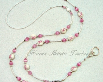 Breast Cancer Awareness White Beaded Lanyard