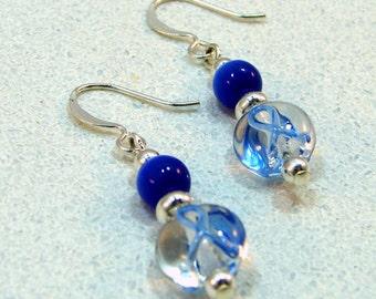 Blue Ribbon Colon Cancer Awareness Beaded Earrings