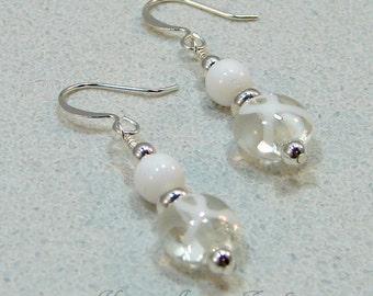 Earrings Beaded White Lung MS Cancer Awareness Ribbon