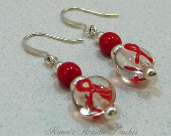 Red Ribbon HIV AIDS Cancer Awareness Beaded Earrings