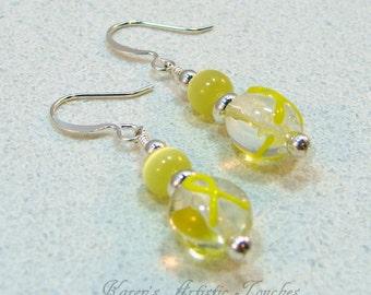 Yellow Ribbon Support Awareness Beaded Earrings
