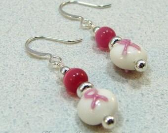 Dk Pink Breast Cancer Awareness Beaded Dangle Earrings White