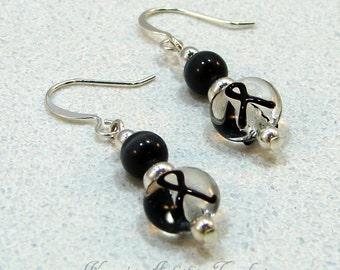Black Ribbon Melanoma Cancer Awareness Beaded Earrings