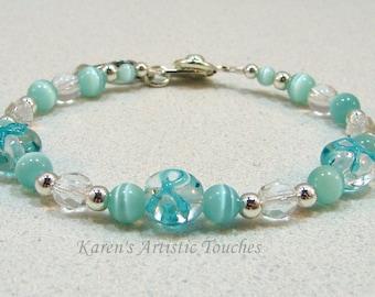 Teal Ribbon Ovarian Cancer Awareness Beaded Bracelet