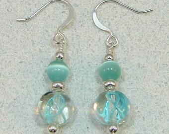 Teal Ribbon Ovarian Cancer Awareness Beaded Earrings
