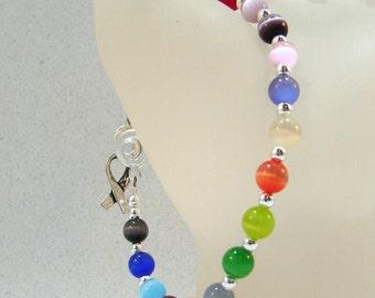 Multi Color Cancer Awareness Bracelet w/ Hope Charm