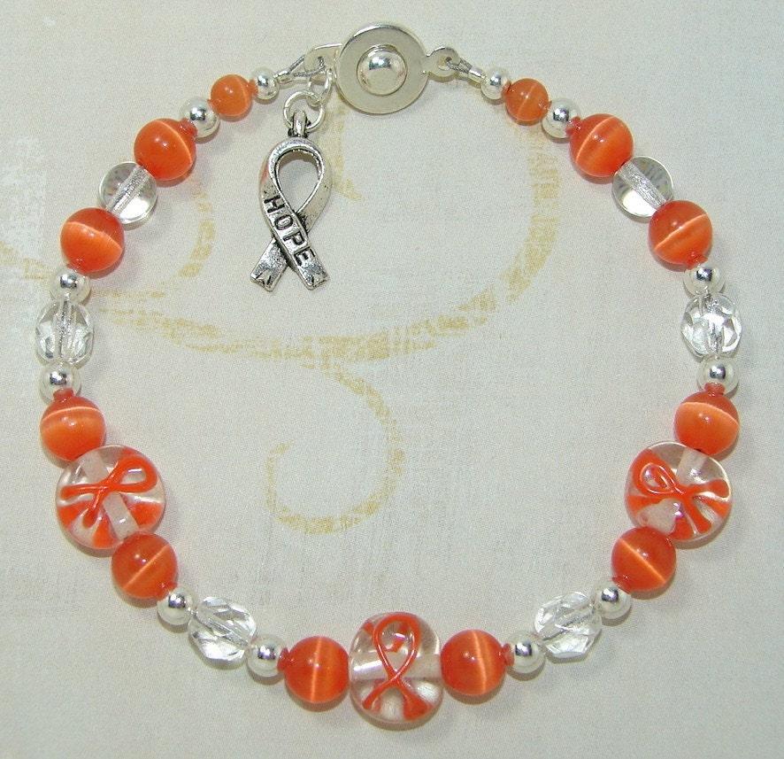 orange ribbon leukemia cancer awareness beaded bracelet