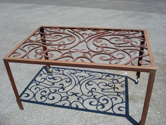 Items similar to steel scroll dining room table on etsy for Dining room tables etsy