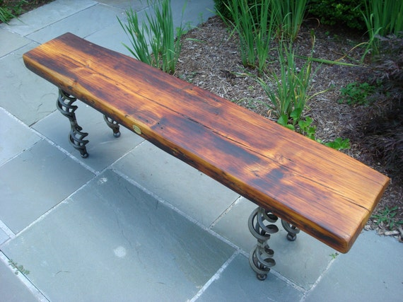 Reclaimed wood bench/coffee table with steel base and legs (tag 10)