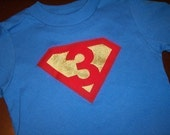 Infant/Toddler Boys Third 3rd Birthday Superman Shirt 3T 4T 5T