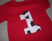 Infant/Toddler boys First 1st birthday cow barn theme red shirt 12m 18m 24m 2T