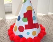 Infant/ Toddler Boys First 1st Birthday Lolli Dot RED Birthday Party Hat