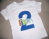 Toddler Boys First 2nd Birthday BLUE 2 Shirt Personalized Short sleeve 2T 3T