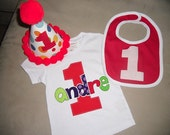 Infant/Toddler Boys First 1st birthday COMBO pack shirt, bib hat 12m 18m 24m 2T