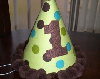 Infant/ Toddler Boys First 1st Birthday Green/Brown/Aqua Dot Birthday Party Hat