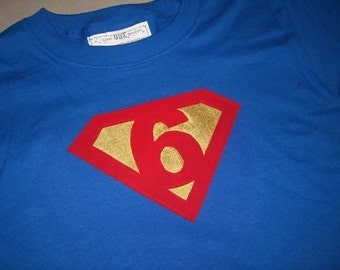 Infant/Toddler Boys Sixth 6th Birthday Superman Shirt Size 6/8