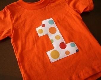 Infant/Toddler Boys First 1st Birthday Orange Polka Dot 1 Shirt 12m 18m 2T