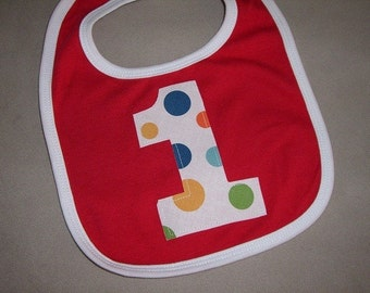 Infant/Toddler Boys First 1st Birthday Lolli Dot 1 Red/White trim bib