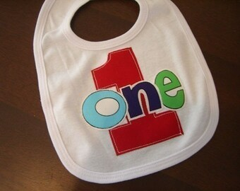 Infant/Toddler Boys First 1st Birthday 1 one Bib