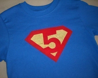 Toddler Boys 5th Fifth Birthday Superman Superhero Birthday Shirt 5T