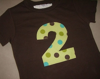 Infant/Toddler Boys 2nd second Birthday Green/Brown Polka Dot 2 Shirt Short Sleeve 2T 3T