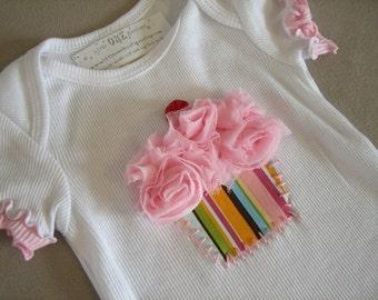 CREATE A CUPCAKE...Infant/Toddler Girls Birthday Cupcake pink Ruffle Sleeve Shirt 12-18m