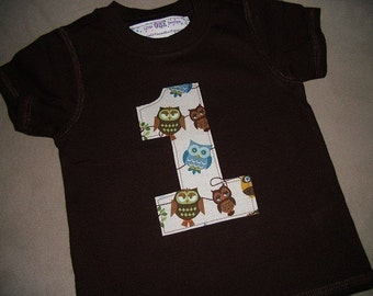 Infant/Toddler Boys 1st First Birthday Look Whoos 1 Brown Owl 1 Shirt 12m 18m 24m
