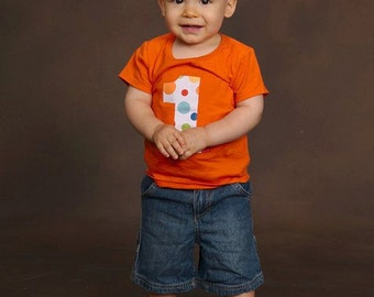 Infant Toddler Boys First 1st Birthday Lolli Dot Polka Dot Orange Shirt Carnival Party 1
