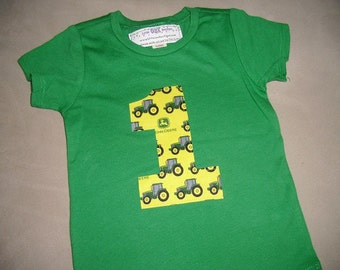 Infant/Toddler Boys First 1st Birthday Tractor 1 Green Shirt 12m 18m 24m 2T