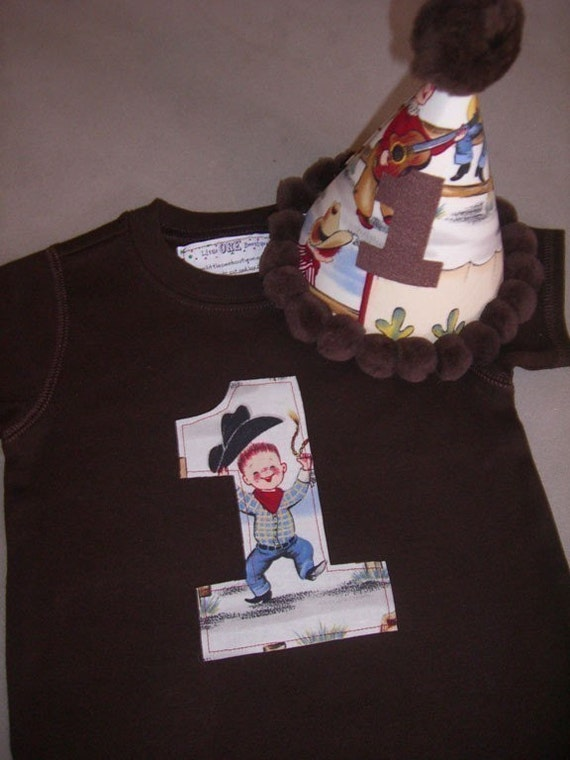 Infant/Toddler Boys First 1st Birthday Cowboy 1 Shirt and Hat Set 12m 18m 24m