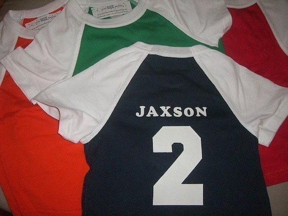 Toddler Boys 2nd Second birthday Navy/Red/Orange/Green Raglan Jersey style shirt Personalized 2T
