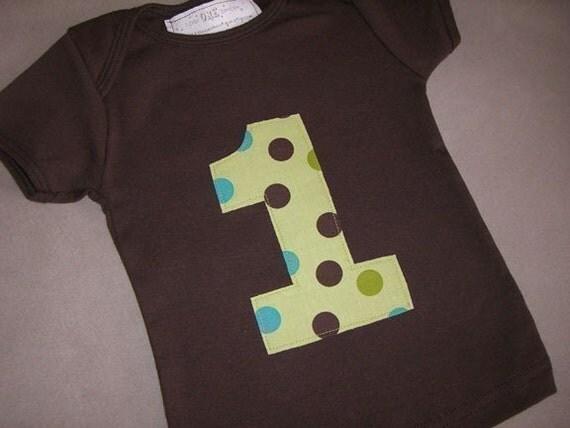Infant/ Toddler Boys First 1st Birthday Brown/Green/Aqua Polka Dot 1 Shirt 6-12m 12-18m 18-24m 2T
