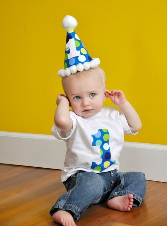 Infant/Toddler Boys 1st First birthday Blue/Lime/Yellow/White Large polka dots 1 Shirt and matching Hat