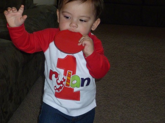 Infant/Toddler Boys First 1st Birthday Red LONG Length Sleeve Personalized 1 Shirt 12m 18m 24m