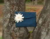 Textured Navy Envelope Clutch with Vintage Chrysanthemum FREE SHIPPING