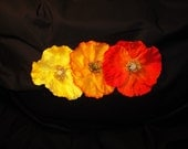 Poppy Blossom Hair Clip or Fascinator in Red, Orange, Yellow - You Pick the Color FREE SHIPPING