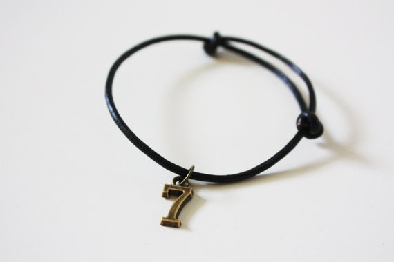 Adjustable Number Charm Leather Cord Bracelet