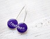 Purple earrings - Bird earrings - Bird on Branch  (E039)
