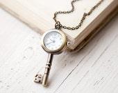 Steampunk pocket watch - Skeleton key - christmasinjuly CIJ (PW002)