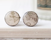 World map cufflinks - Vintage map cufflinks - World traveler gift - Gift for traveler - Wedding cuff links for groom, groomsmen (C022)