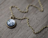 Full Moon necklace - Tiny pendant - Moon jewelry - Space jewelry - Solar system jewelry  (N083)