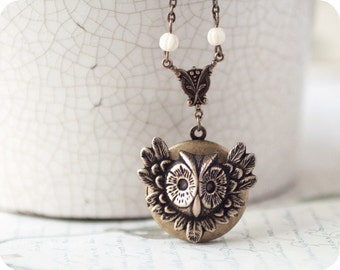Owl locket - Bird necklace - Steampunk jewelry - Owl Jewelry - Bird Jewelry - Owl necklace - Steampunk necklace - Steampunk Locket (L010)