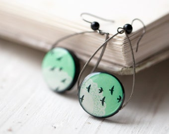 Mint earrings - Bird earrings - Mint green earrings - Tear Drop earrings  (E054)